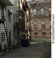 A back alley in Portland Maine. Shown in the morning.