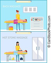 Back and Hot Stone Method Massage Set Vector
