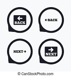 Back and next navigation signs. Arrow icons.