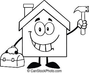 Back And White House Cartoon Character Worker With Tool Box And Holding Up A Hammer