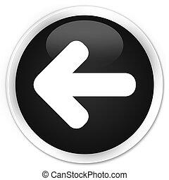 Back arrow icon black glossy round button