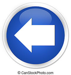 Back arrow icon blue glossy round button