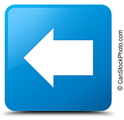 Back arrow icon cyan blue square button