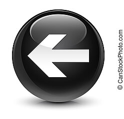 Back arrow icon glassy black round button