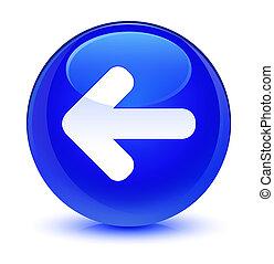 Back arrow icon glassy blue round button