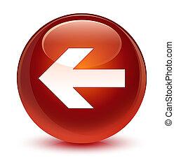 Back arrow icon glassy brown round button