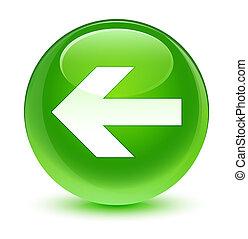 Back arrow icon glassy green round button