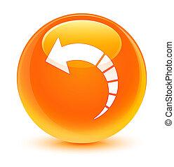 Back arrow icon glassy orange round button