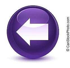Back arrow icon glassy purple round button
