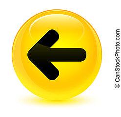 Back arrow icon glassy yellow round button