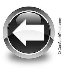 Back arrow icon glossy black round button