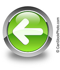 Back arrow icon glossy green round button 2