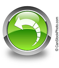 Back arrow icon glossy green round button 3