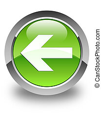 Back arrow icon glossy green round button 4