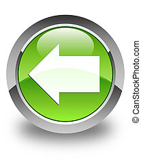 Back arrow icon glossy green round button