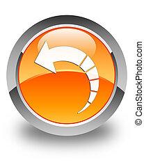 Back arrow icon glossy orange round button 3