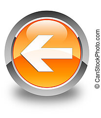 Back arrow icon glossy orange round button 4