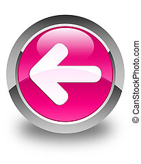 Back arrow icon glossy pink round button