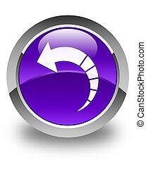 Back arrow icon glossy purple round button