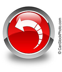 Back arrow icon glossy red round button