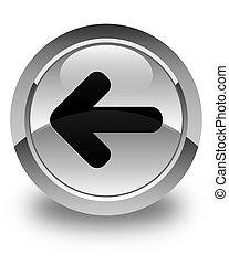 Back arrow icon glossy white round button
