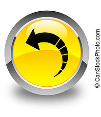 Back arrow icon glossy yellow round button