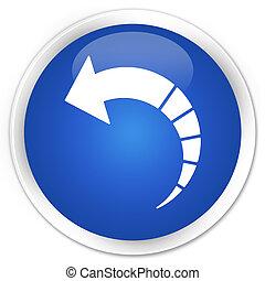 Back arrow icon premium blue round button