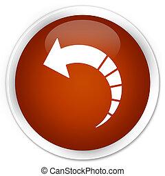 Back arrow icon premium brown round button
