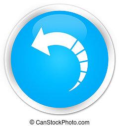 Back arrow icon premium cyan blue round button