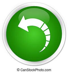 Back arrow icon premium green round button