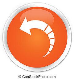 Back arrow icon premium orange round button