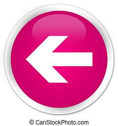 Back arrow icon premium pink round button