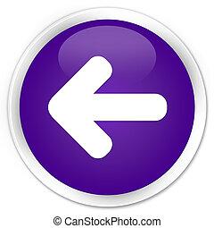 Back arrow icon premium purple round button