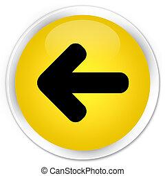 Back arrow icon premium yellow round button