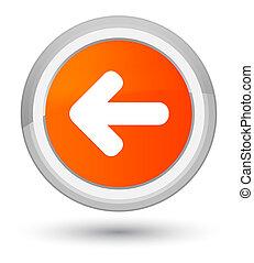 Back arrow icon prime orange round button