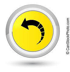 Back arrow icon prime yellow round button