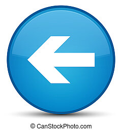 Back arrow icon special cyan blue round button