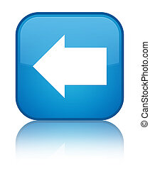 Back arrow icon special cyan blue square button