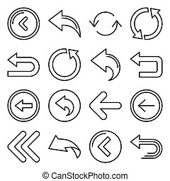 Back Arrow Icons Set on White Background. Line Style Vector