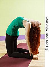 Back bending woman
