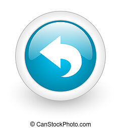 back blue circle glossy web icon on white background