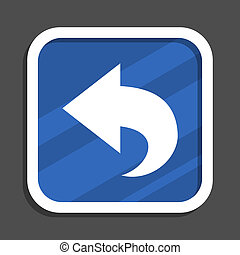 Back blue flat design square web icon