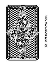 back, bovenkant, kaart gespeel