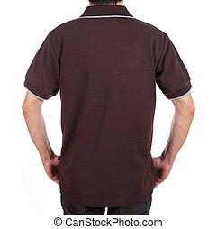 (back, camisa, side), em branco, pólo, homem