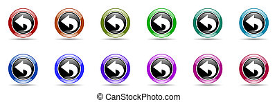 back colorful round web icon set