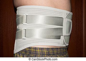 back., corset, taille, monde médical, inférieur, élastique