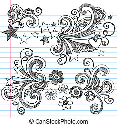 back, doodles, aantekenboekje, school