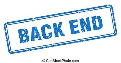 back end stamp. square grunge sign on white background