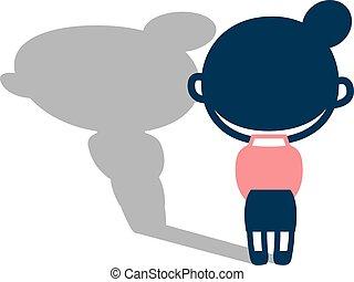 Back figure of melancholy woman