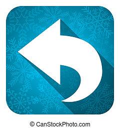 back flat icon, christmas button, arrow sign